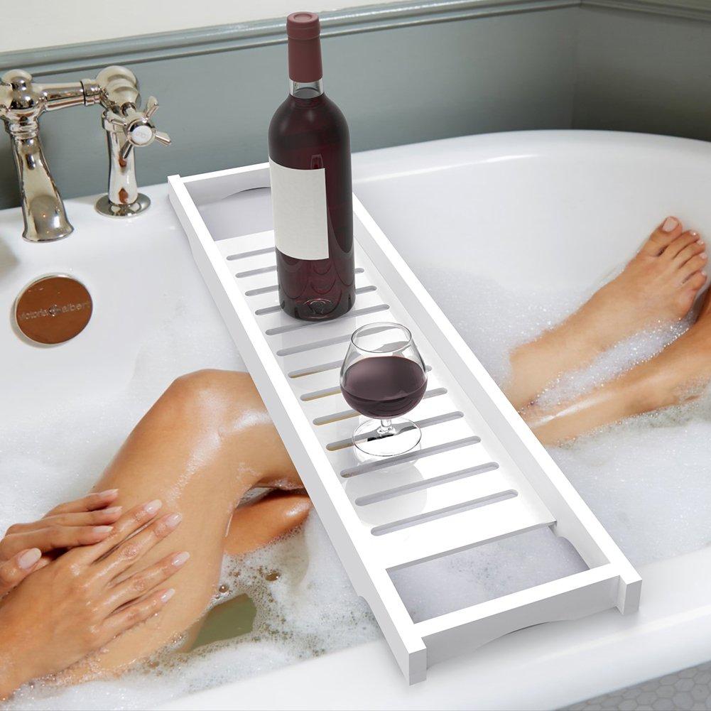 ADD ONE +1 Luxury Slim Bridge Bathtub Caddy Bath Tray Rack Bathroom Accessories