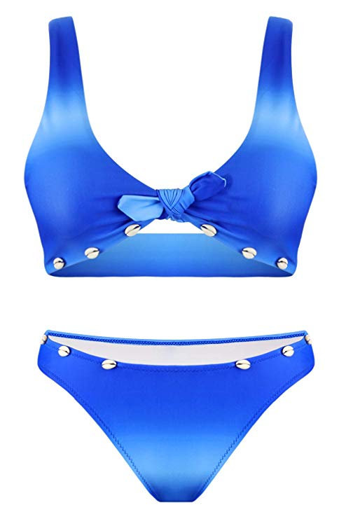80% off Women Gradient Tie Knot Front Push Up Bikini Set Shell Two Piece Swimsuits