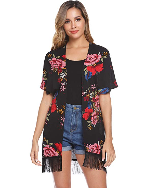 80% off Hawiton Women Floral Cardigan with Tassels Trim Chiffon Open Front Kimono Loose Cover Up Tops