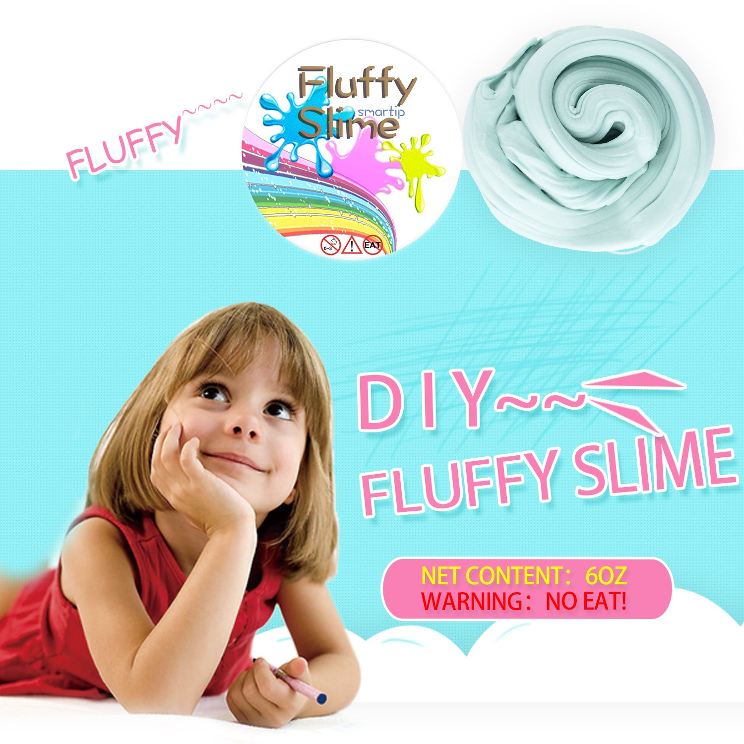 Smartip Fluffy Slime Fluffy Floam Slime Supplies Jumbo Floam Slime Containers