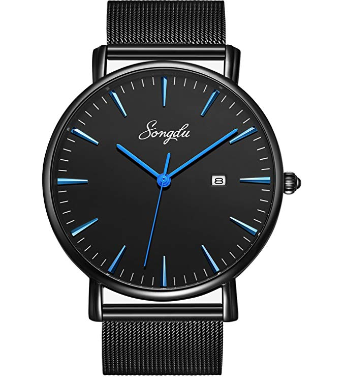 SONGDU Mens Fashion Unisex Ultra Thin Analogue Quartz Black Minimalist Wrist Watch
