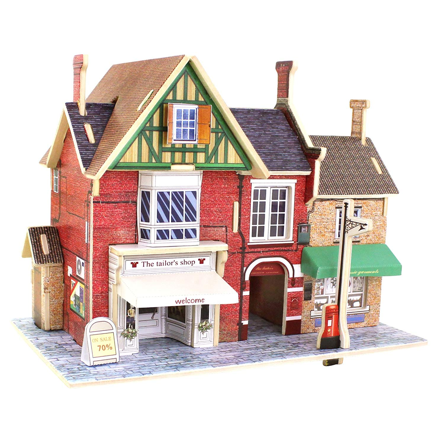 Robotime Wood 3D House of Puzzles British Clothing Store Woodcraft Construction Kit