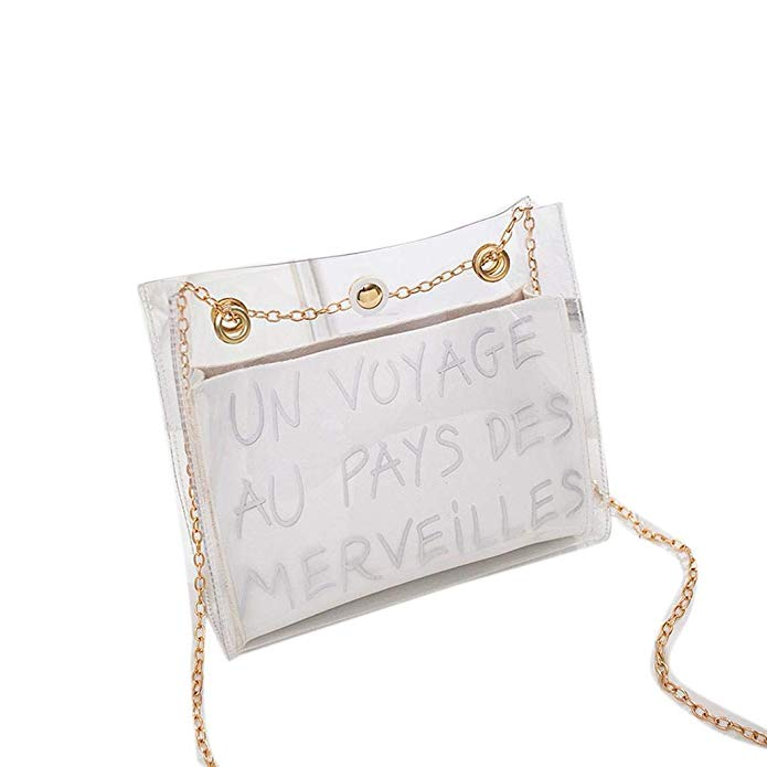 80% off Gfone Women New Transparent Letter Printed Shoulder Bag