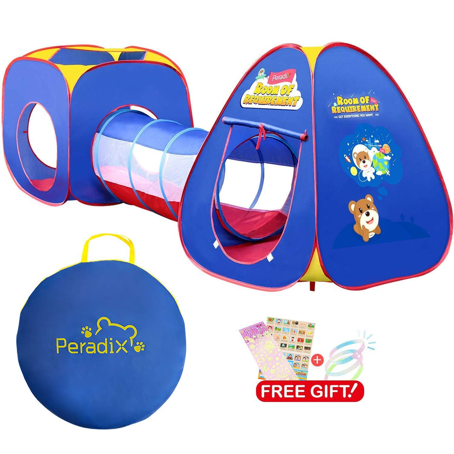 Peradix Baby Kids Play Tunnel Tent, Pop Up Play Tent Tunnel 3 in 1 Ball Pit Tent