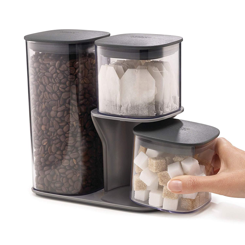 Joseph Joseph Podium 3-Piece Storage jar Set with Stand