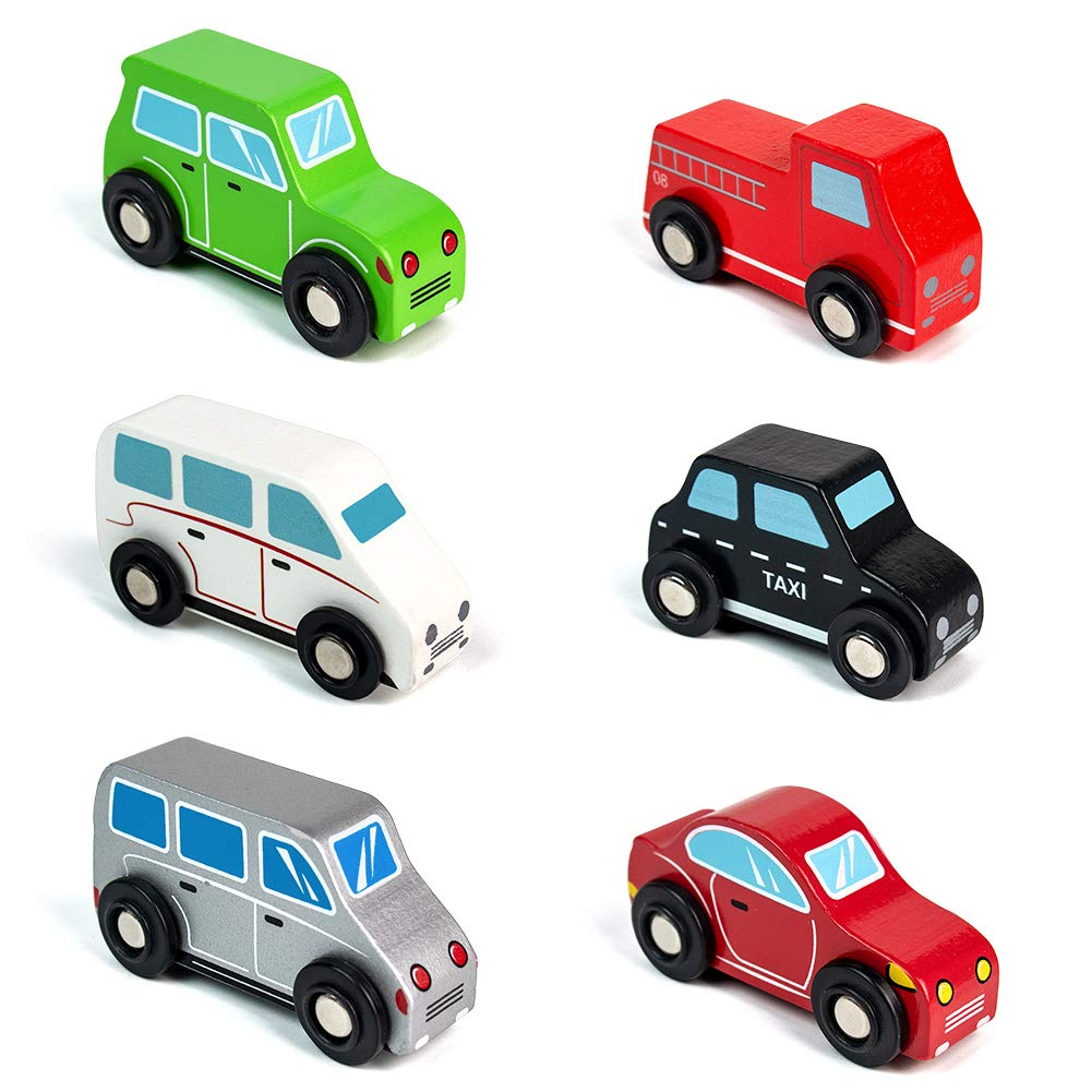 65% off Jerryvon Wooden Car Toys Pull Mini Vehicles Set Gift for Baby Toddlers