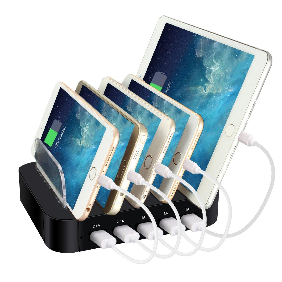 ELEGIANT Multi Device Charging Station, 5 Ports USB Charger Plug Desktop Charging Stand USB Outlet Docking Station