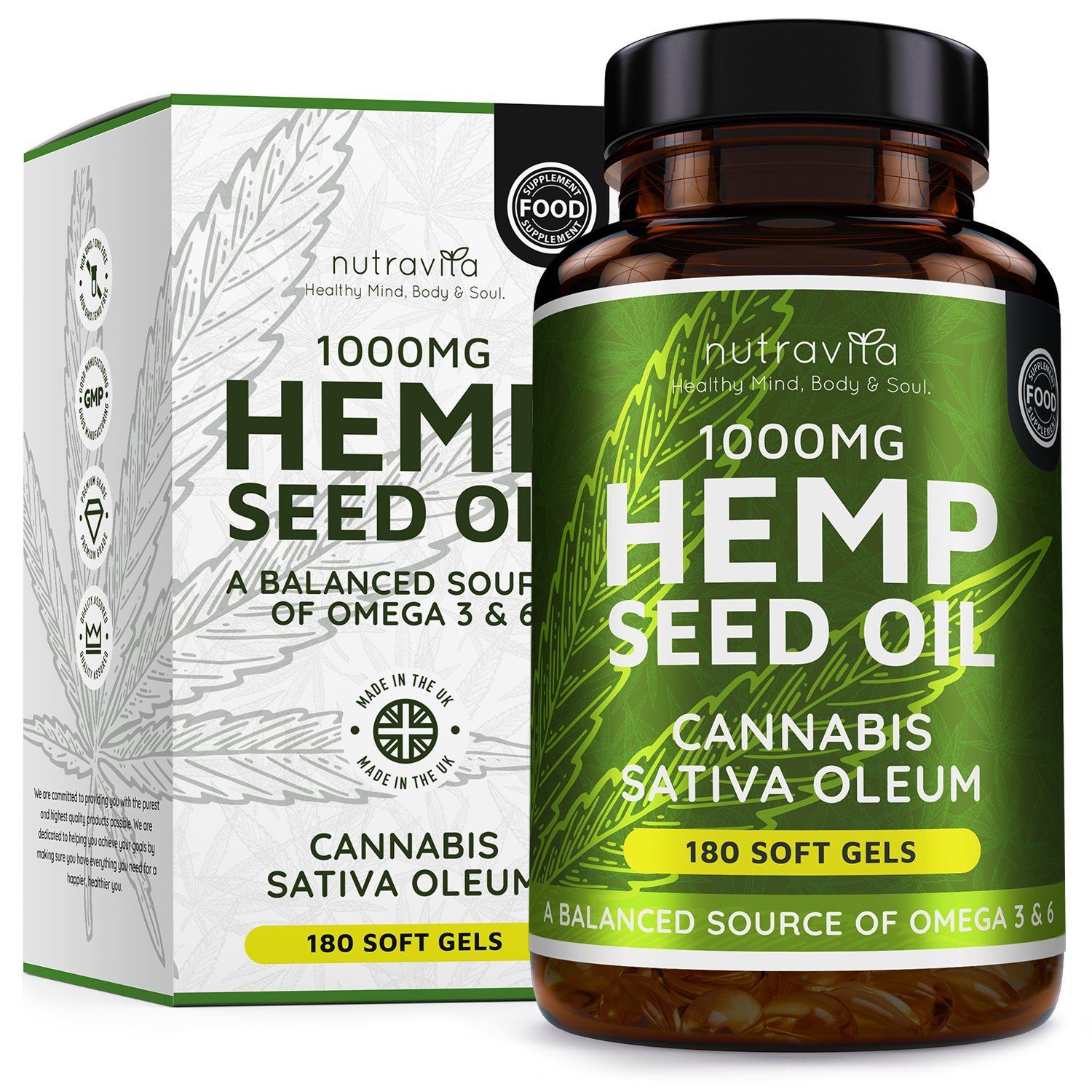 Hemp Oil 1000mg Supplement | 180 Soft Gel Capsules of Pure Cold Pressed Hemp Seed Oil – Rich in Omega 3 & 6