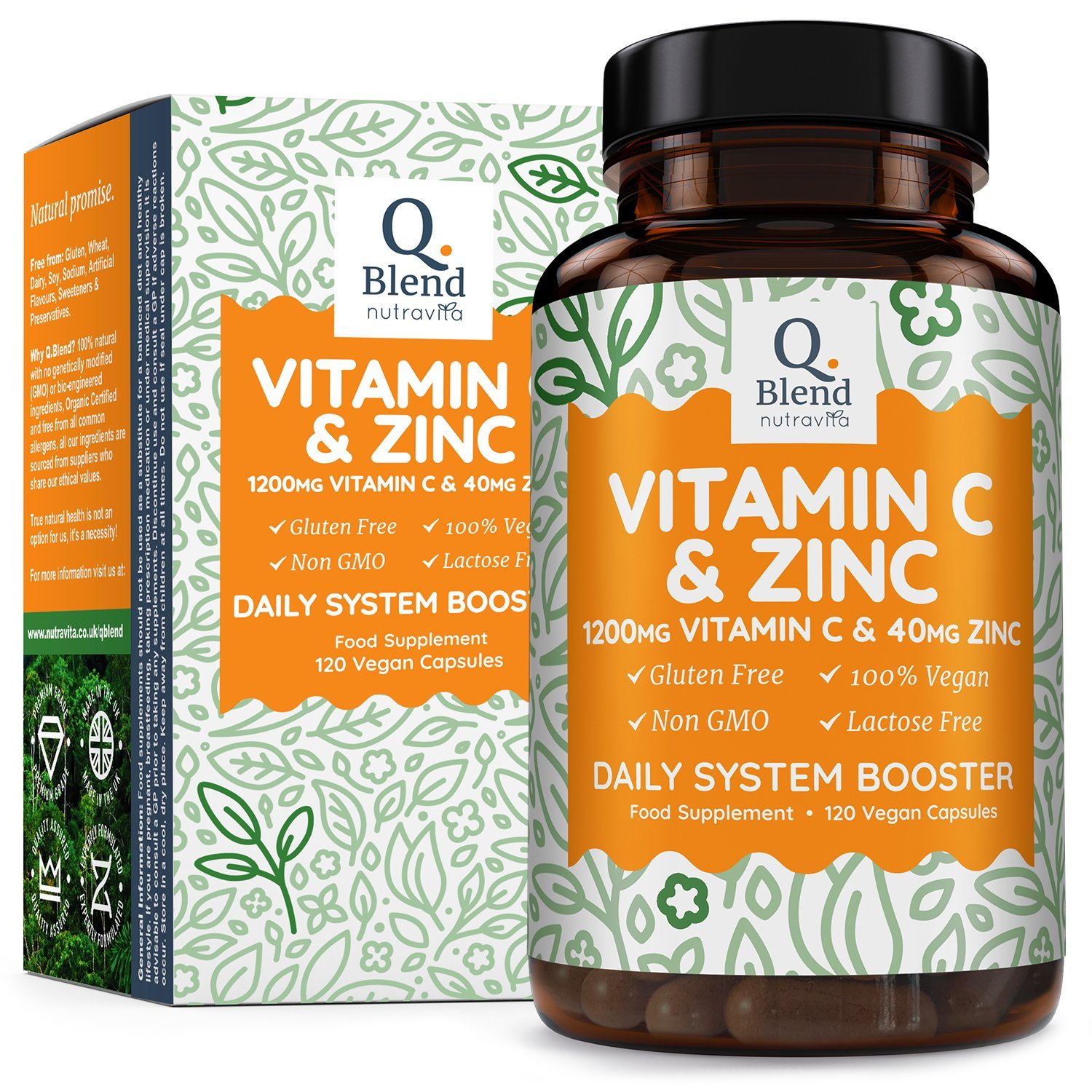 Vitamin C 1200mg & Zinc 40mg | 120 Vegetarian Capsules with Ascorbic Acid
