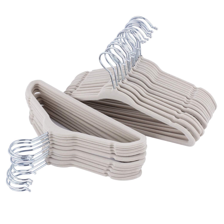 ETAOLINE Children's Hangers Beige Velvet Clothes Hangers for Kids Baby, Set of 25