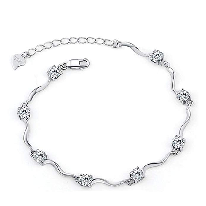 Ladies White Gold Plated Crystal Bracelets with Shiny White Cubic Zirconia for Women Girls