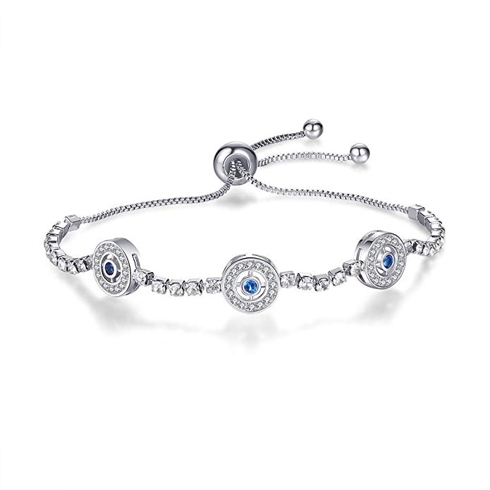 Tusuzik 925 Sterling Silver Expandable Lucky Blue Evil Eye Adjustable Chain Bracelet