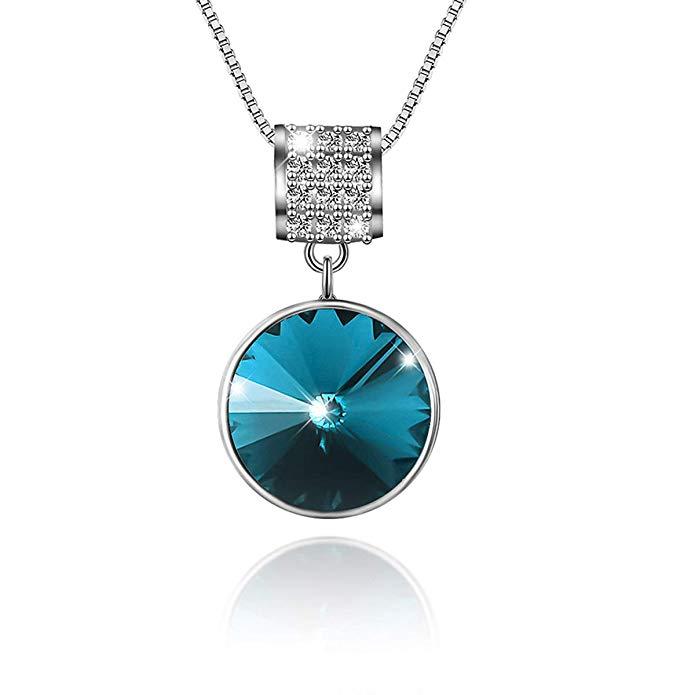 Tusuzik Heart Pendant Necklace with Blue Ocean Crystals
