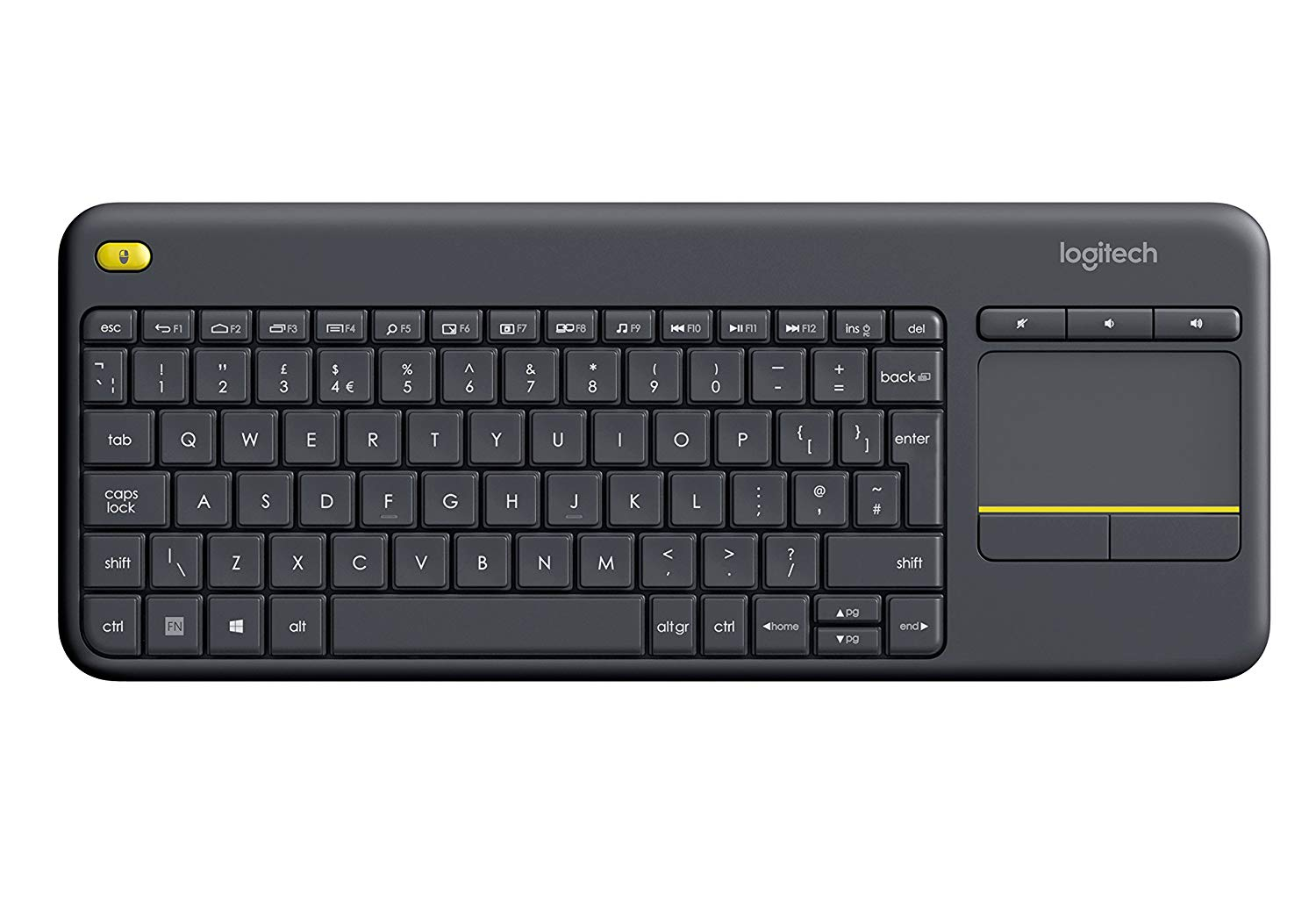 Logitech K400 Plus Wireless Touch Keyboard for Windows, Android and Chrome, Qwerty UK Layout