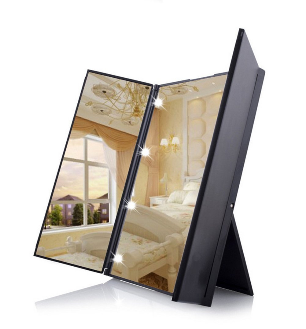 Tri-Fold Cosmetic Makeup Mirror with 8 LED Lights Battery Included