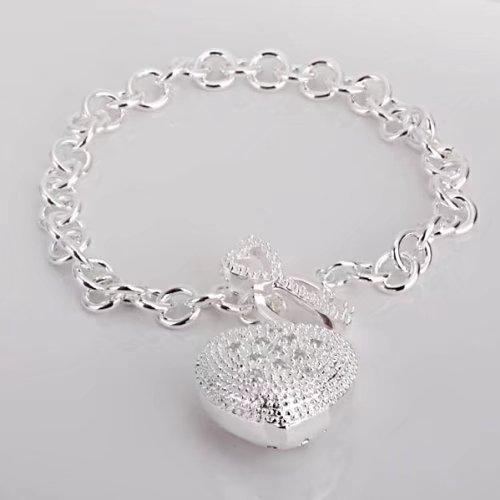 Women solid silver Jewelry Heart Bracelet +velvet pouch