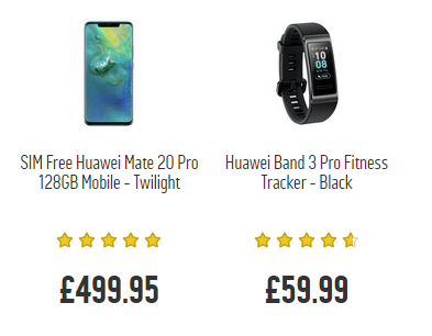 SIM Free Huawei Mate 20 Pro 128GB Mobile Phone with a free Band 3 Pro Watch worth £59