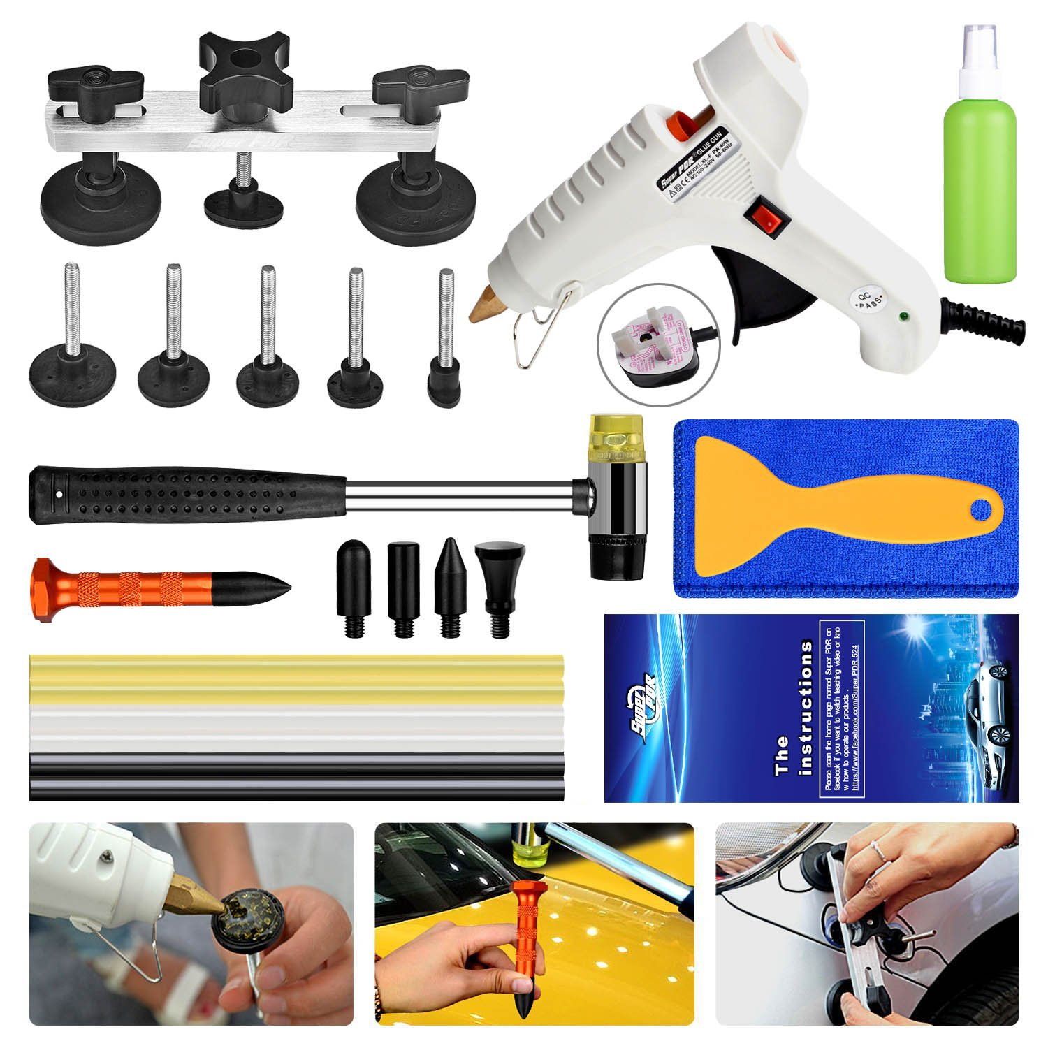 Super PDR 23 PCS Car Repair Kit Paintless Dent Repair Brige Puller Tools
