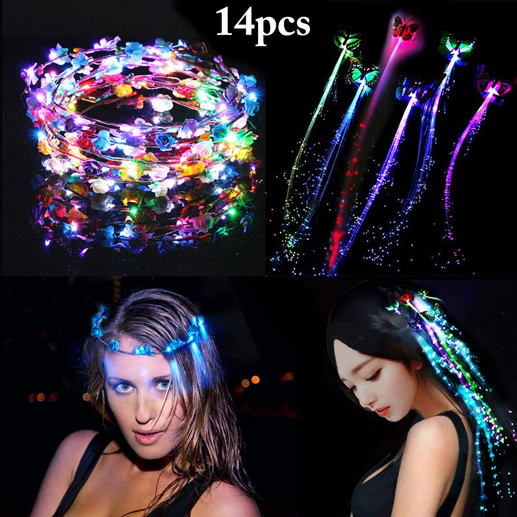 Outgeek LED Flower Headband,14Pcs Flower Crown Garland Headband Flower Floral Headband