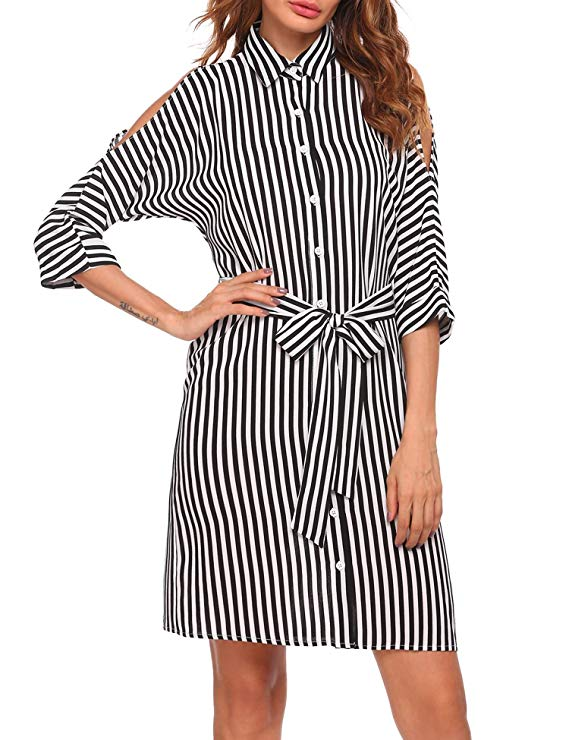 Meaneor Women's Casual Cold Shoulder 3/4 Sleeve Stripe Loose Shirt Dress with Belt