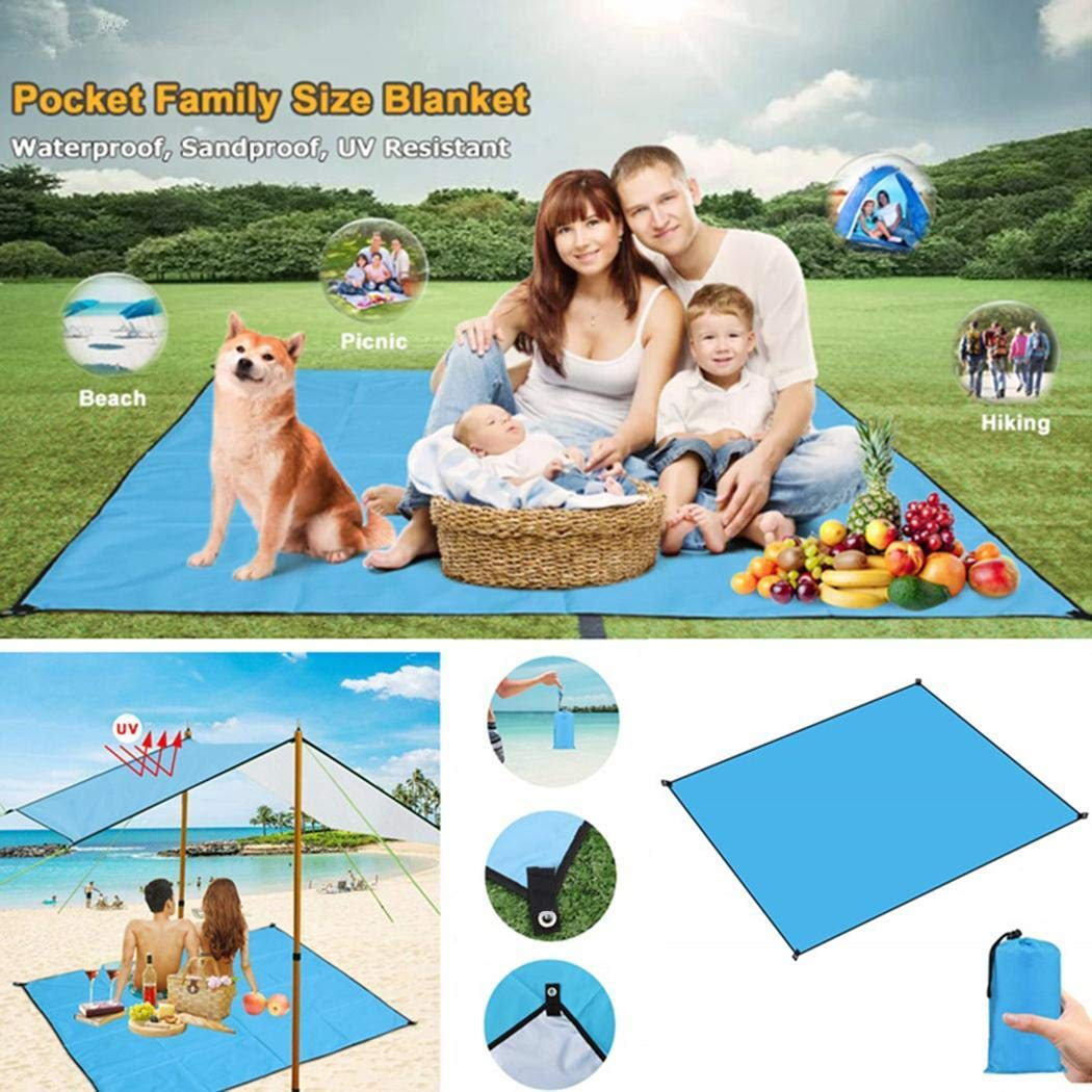 80% off Qiopes Beach Picnic Blanket, Portable Lightweight Waterproof Sandproof Pocket Picnic Blanket