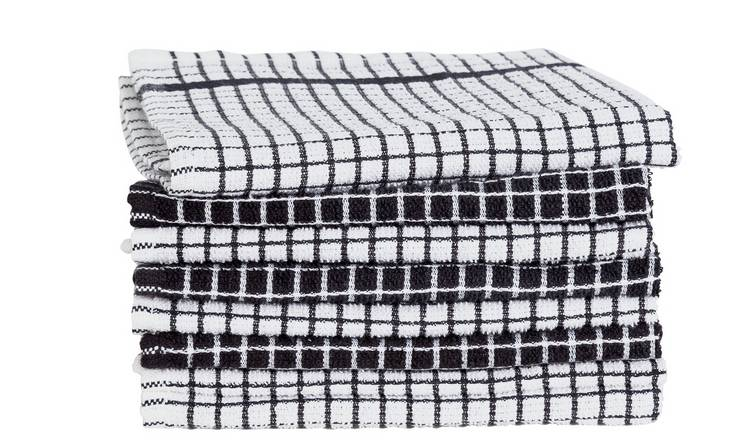 Argos Home Pack of 8 Terry Tea Towels – Black and White