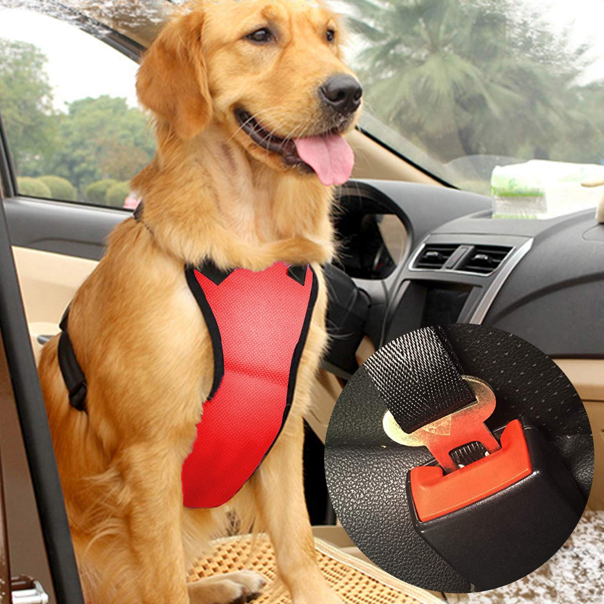 Musonic Dog Safety Vest Harness with Safety Belt for Most Car