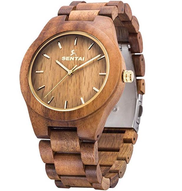 Sentai Mens Wooden Watch Analogue Quartz Wrist Watches