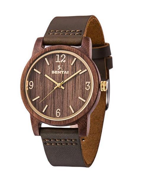 Sentai Wooden Watch with Genuine Leather Strap Japanese Quartz Analog Wrist Watch