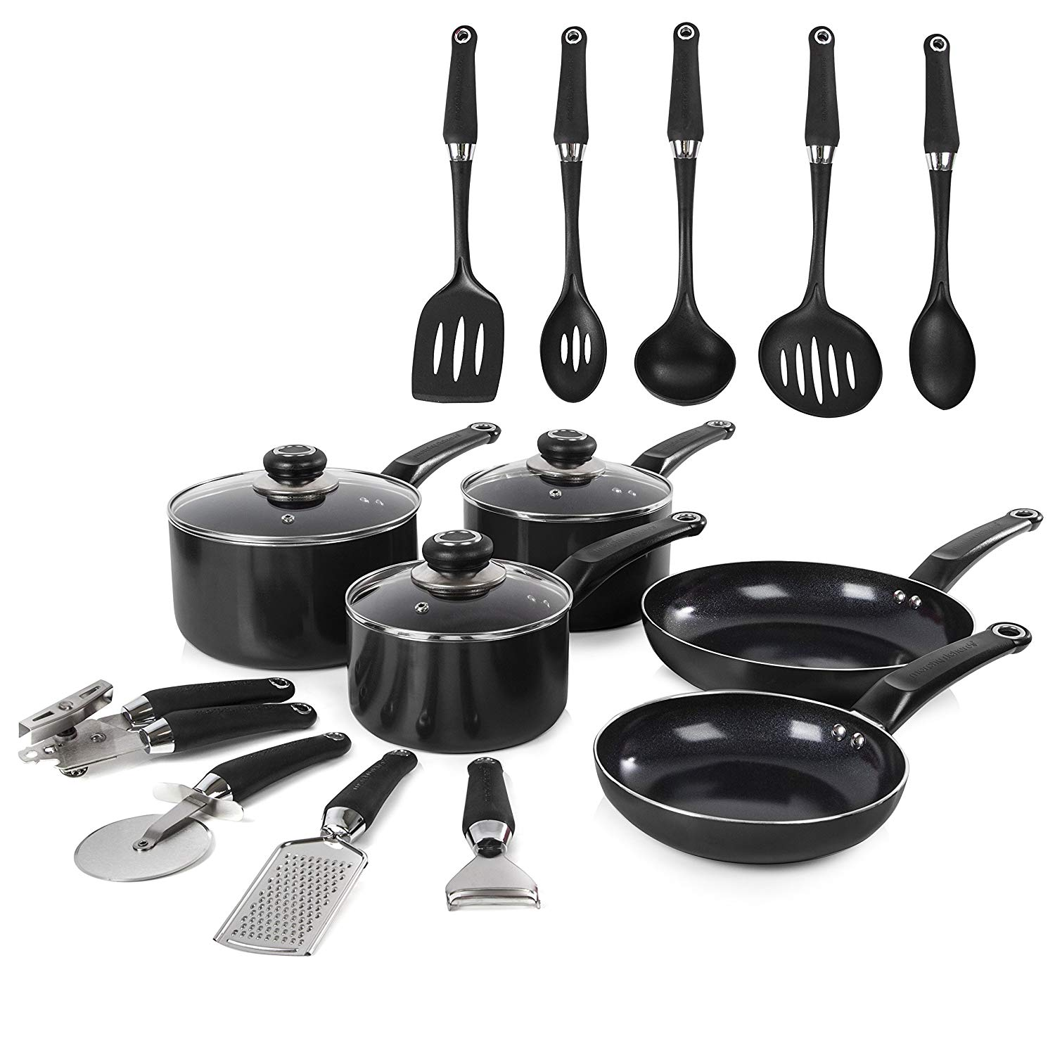 Morphy Richards Equip Frying Pan and Saucepan Set 5 Piece with 9 Piece Tool Set , Aluminium
