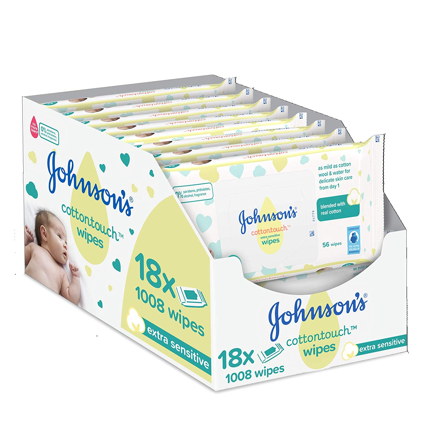 JOHNSON'S Cottontouch Extra Sensitive Wipes 1008 ct (56×18)