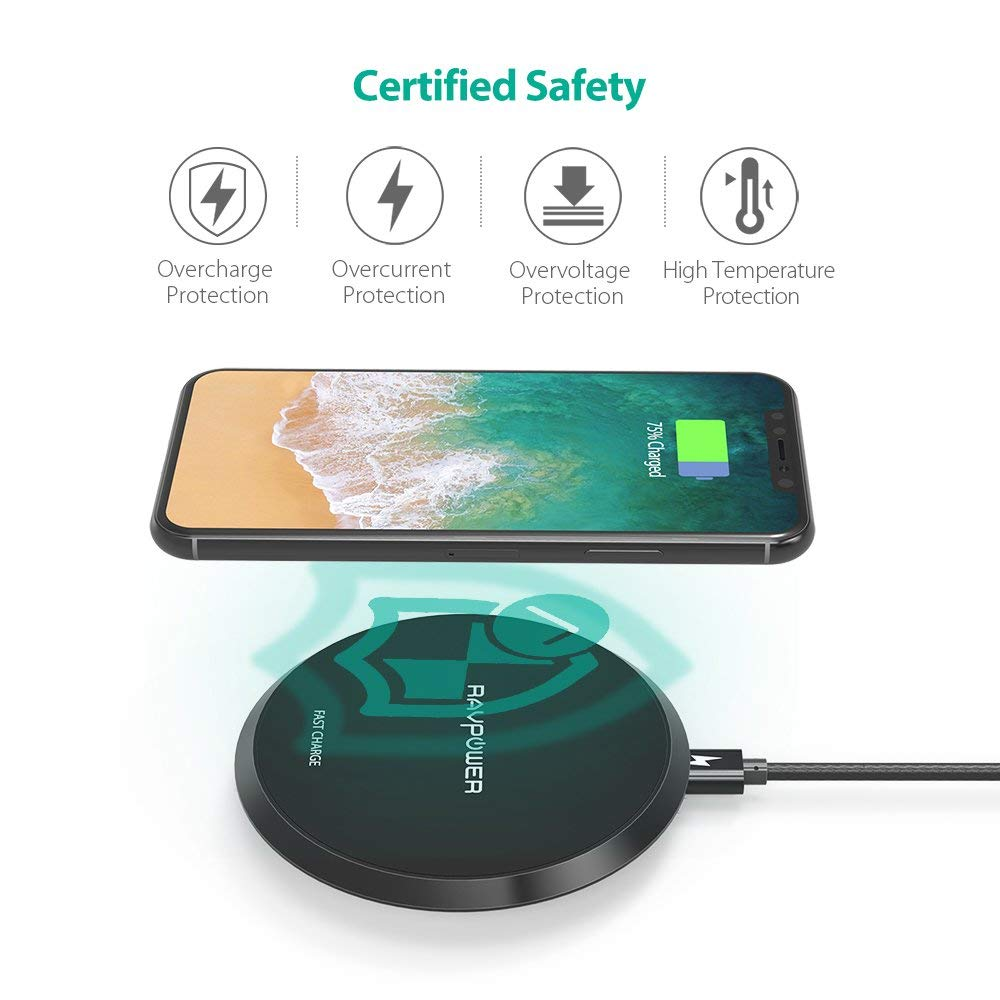 Upgraded Qi-Certified Wireless Charging Pad 10W Fast Charger