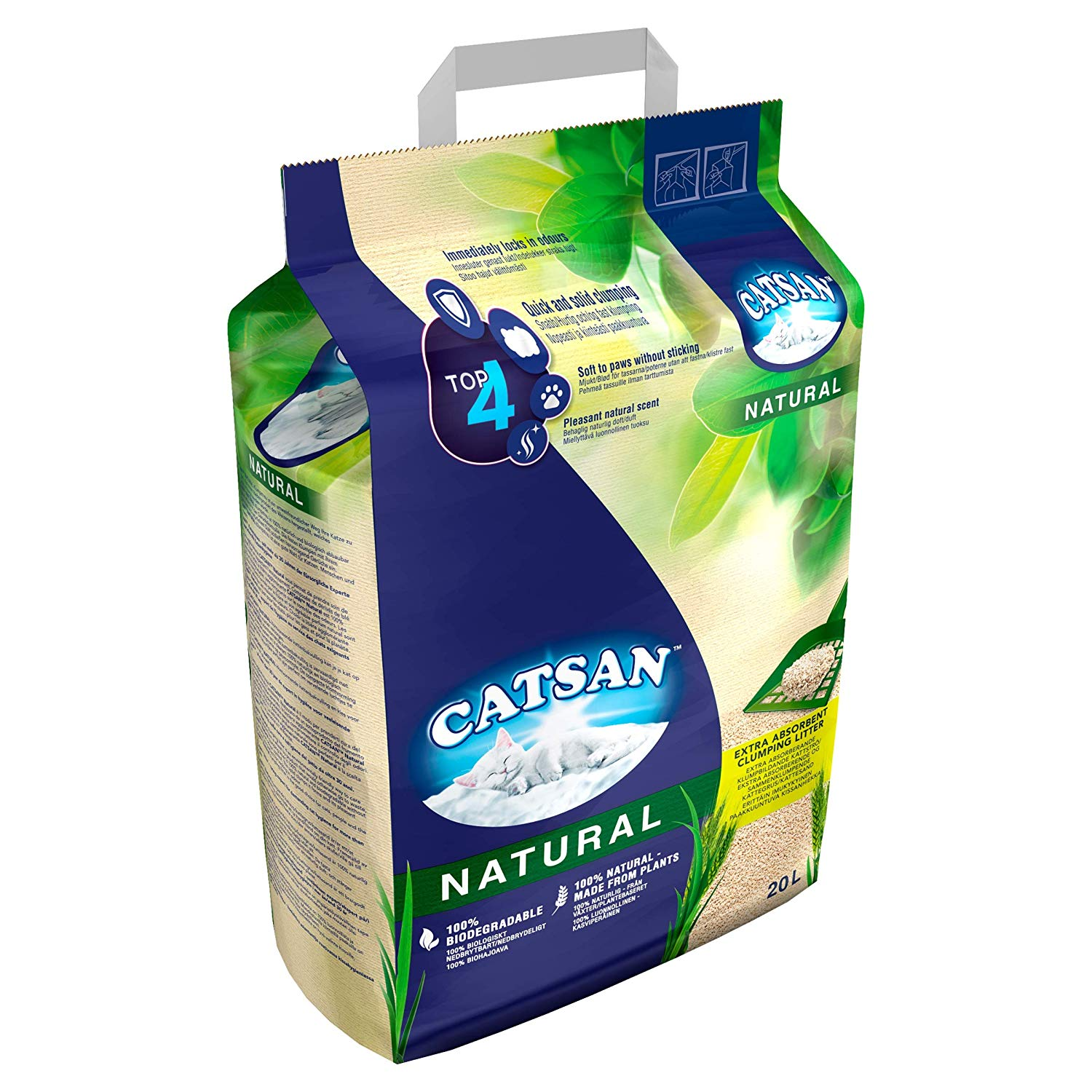 Catsan Natural Biodegradable Clumping Cat Litter, 20 L