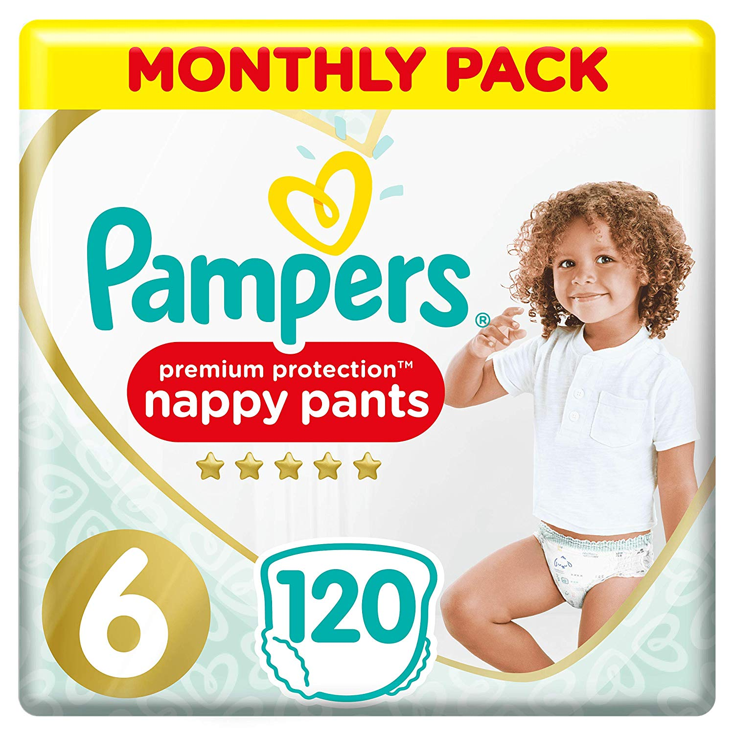 Pampers Premium Protection Nappy Pants Size 6, 120 Nappy Pants, 15 kg+