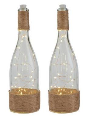Argos Home Set of 2 Jute Tabletop Bottle Lanterns