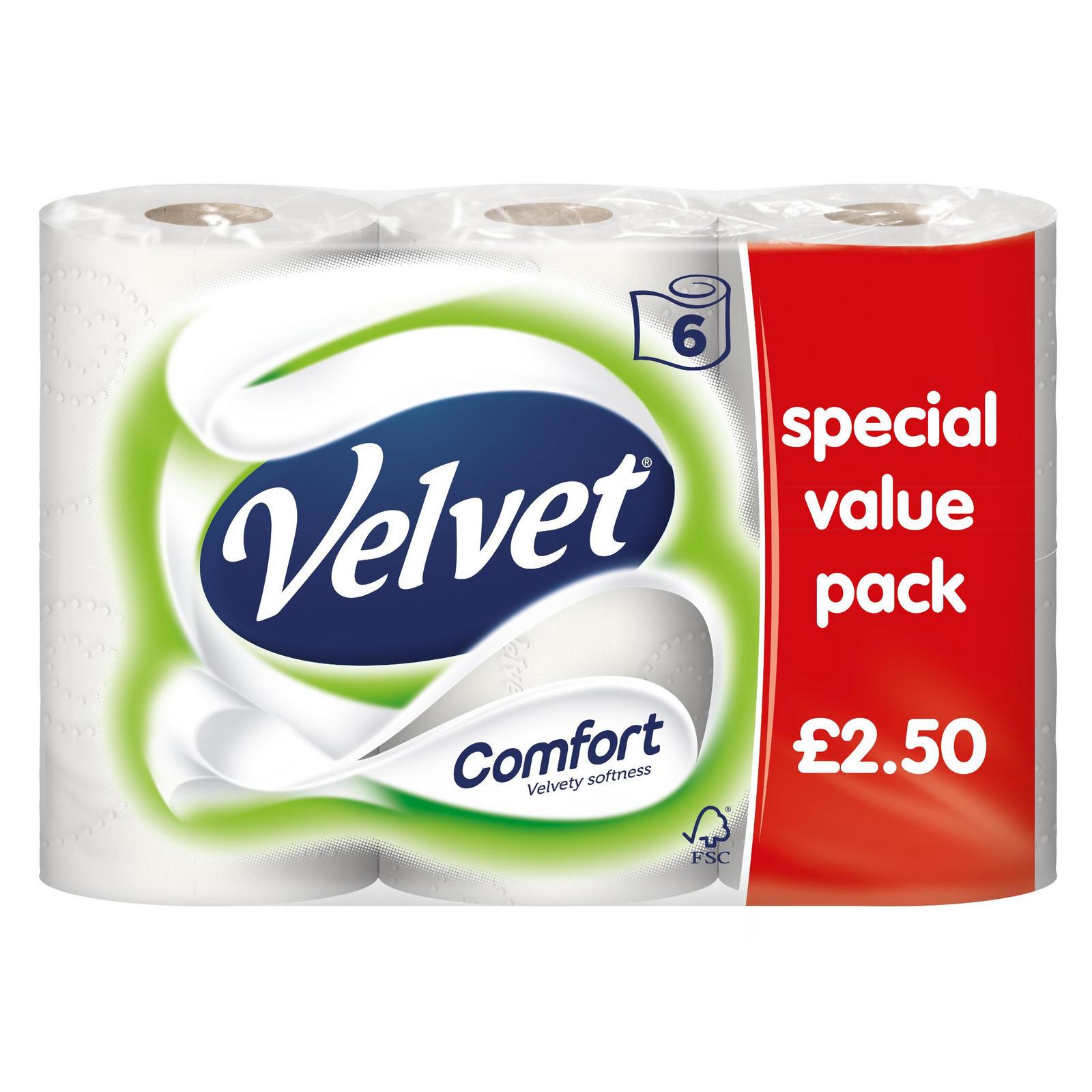 Velvet Comfort 6 Toilet Rolls Only £2 at Iceland