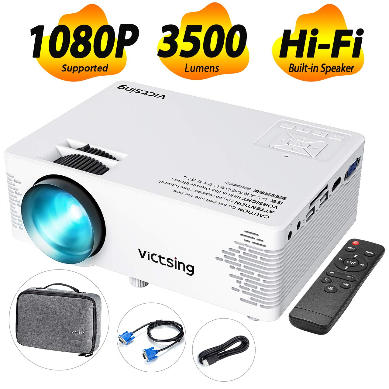 VicTsing Mini Projector with Hifi Steoro Sound