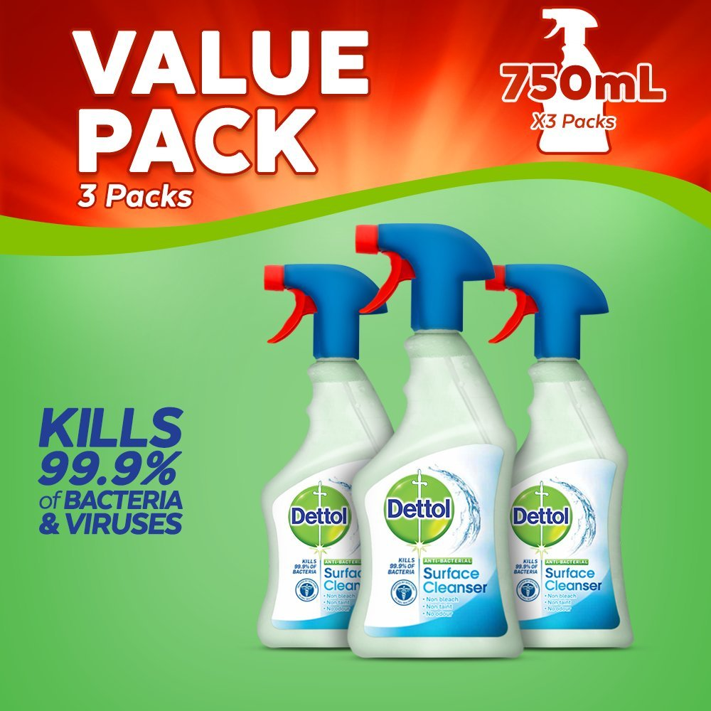 Dettol Antibacterial Surface Cleaning Spray, 750 ml, Pack of 3 @Amazon