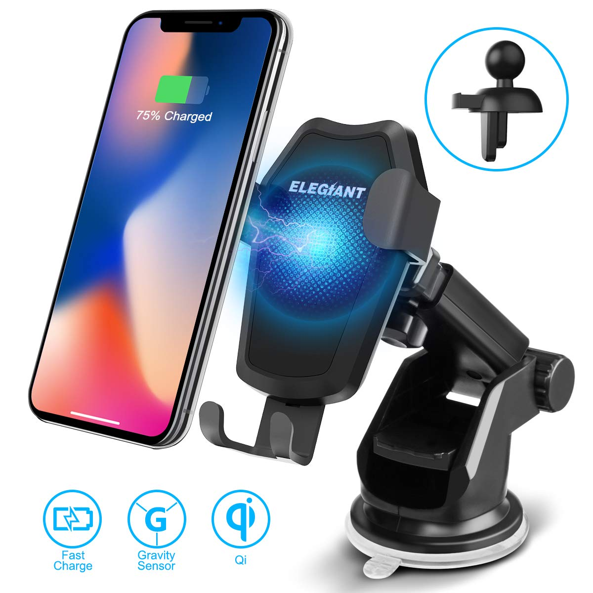 2 in 1 Car Air Vent & Dashboard Universal Phone Holder 10W Qi Fast Wireless Charger