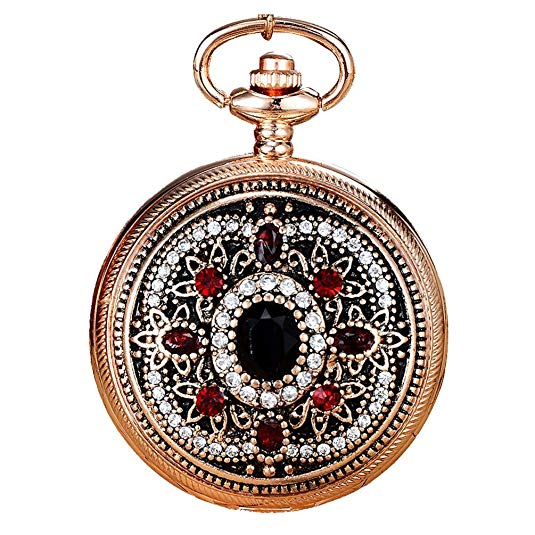 Ogquaton Premium Quality Vintage Carved Rhinestone Inlaid Pocket Watch