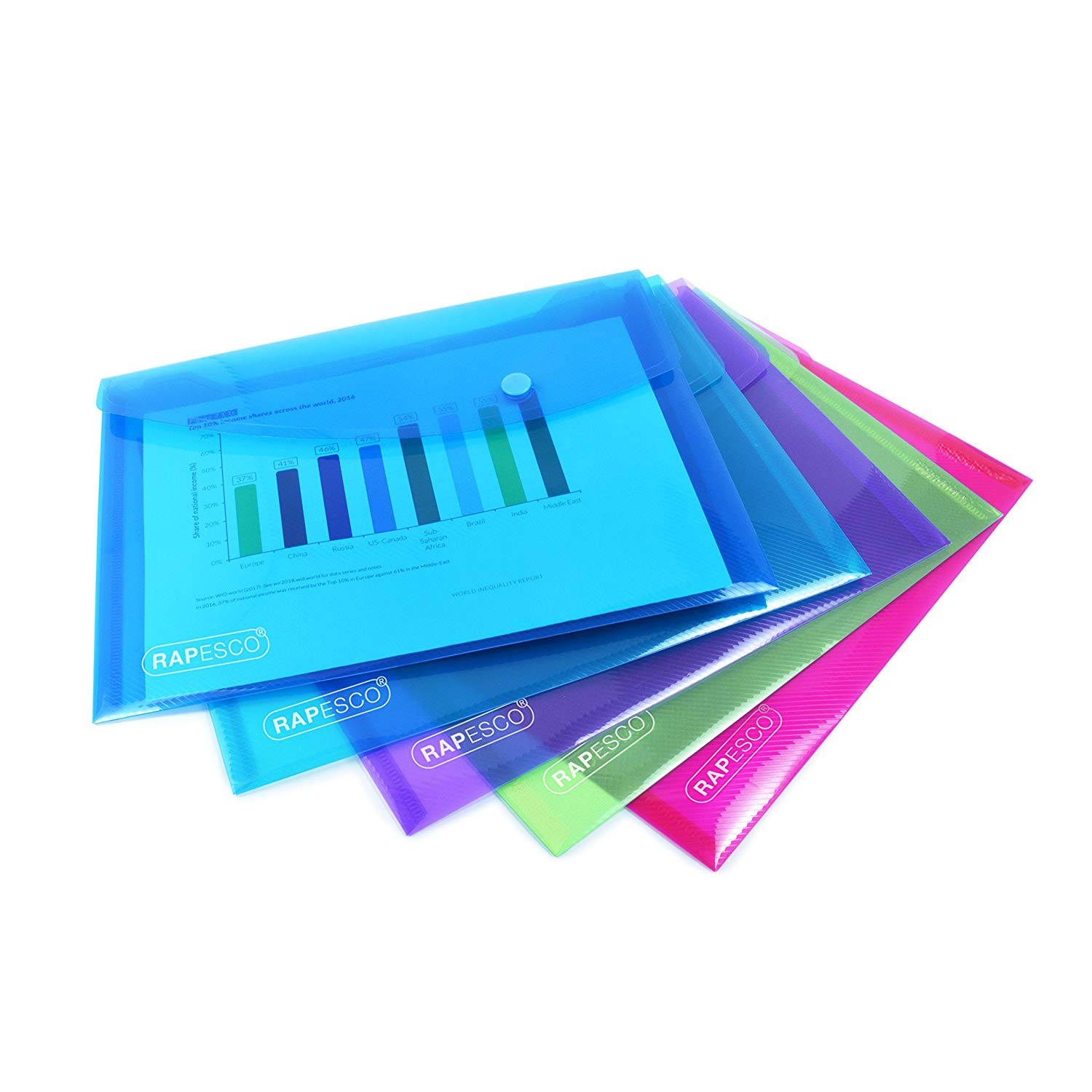 Rapesco A5 Plastic Popper Wallet, Pack of 5 @Amazon