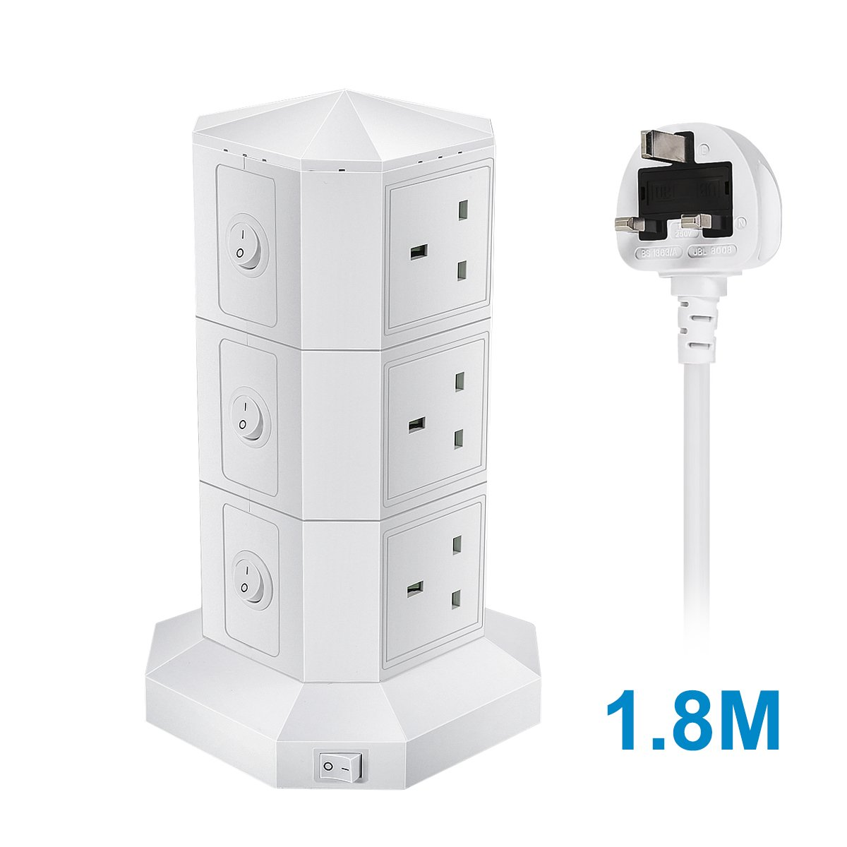 70% off GreenClick Extension Lead, Power strip with 9 Smart USB Ports 6 Way Outlets