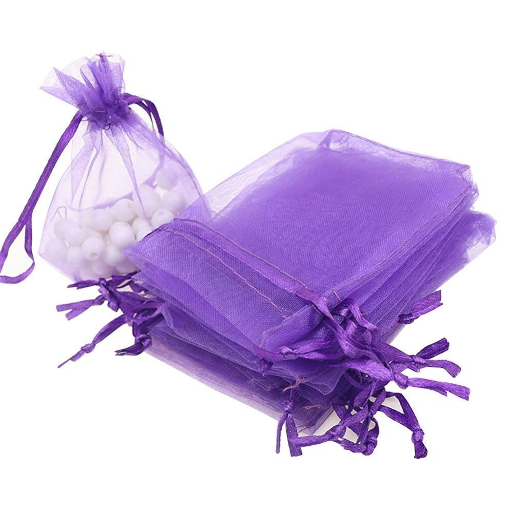10 pack Beautiful Dark Purple Organza Gift and Favour Bags 7cm x 9cm
