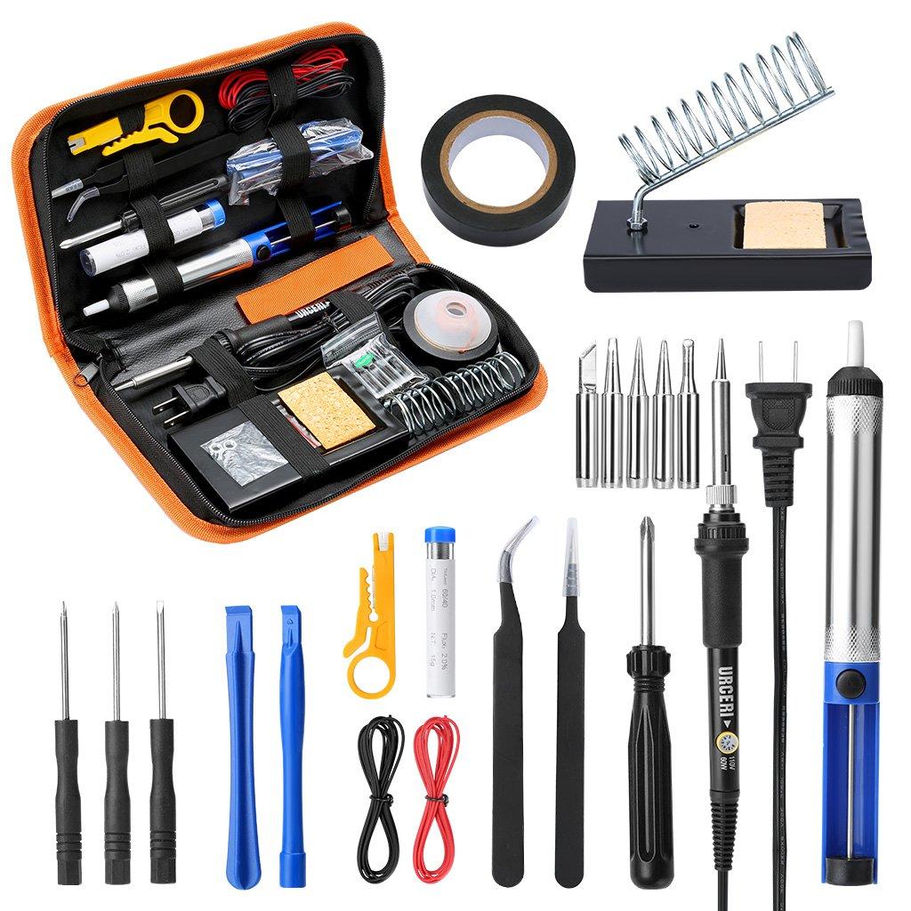 URCERI Soldering Iron Kit, 26pcs Set, 60W Adjustable Temperature Welding Tool
