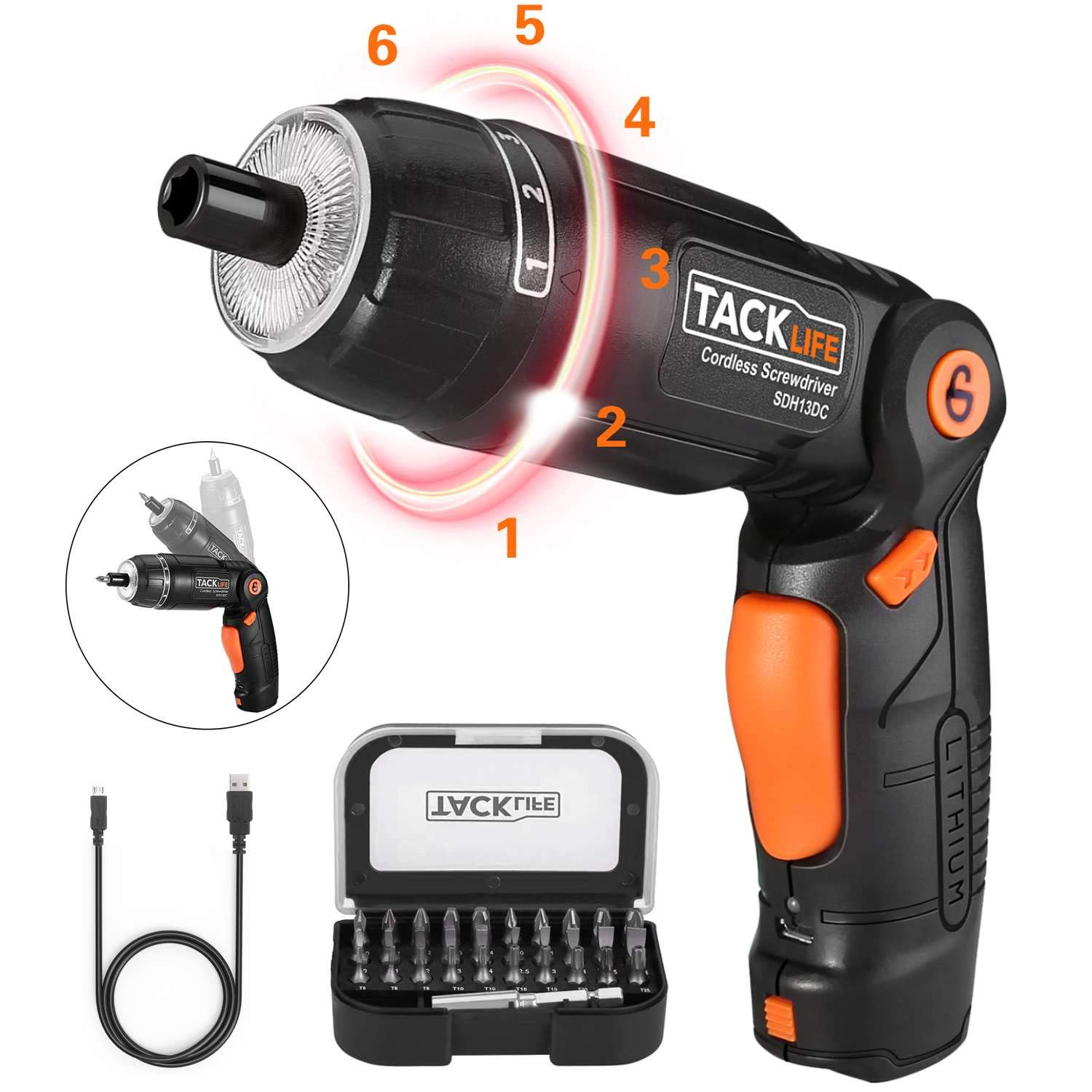TACKLIFE Electric Screwdriver, 3.6V Screwdriver Drill Set