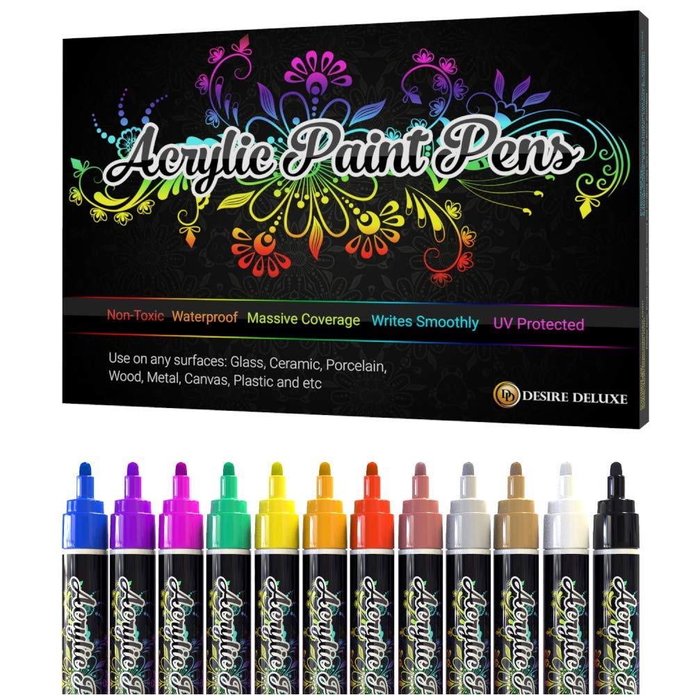 Desire Deluxe Acrylic Paint Pens – Non Toxic Water Based Rock Painting Waterproof Kit Markers