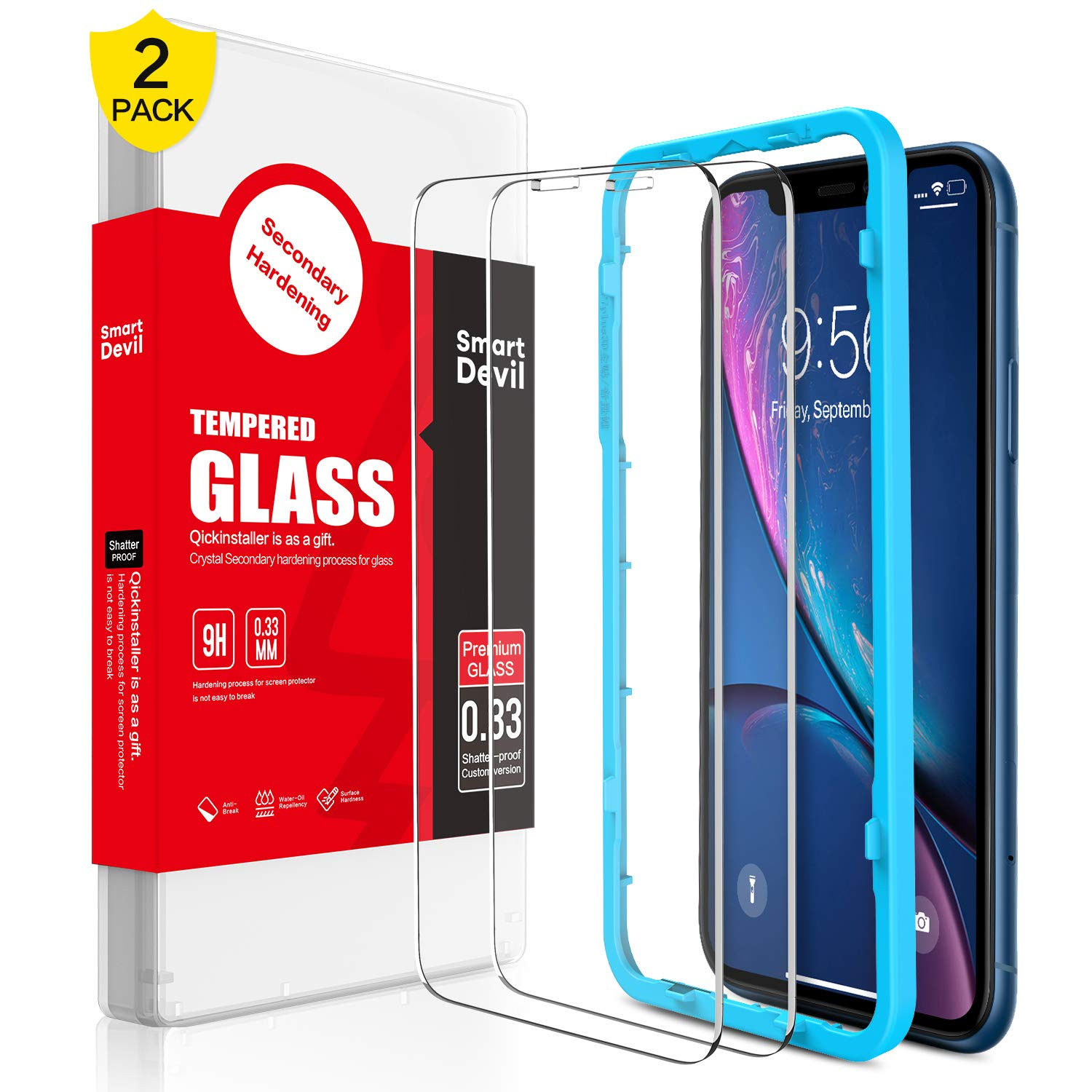 SmartDevil Screen Protector for iPhone XR [2 Pack]