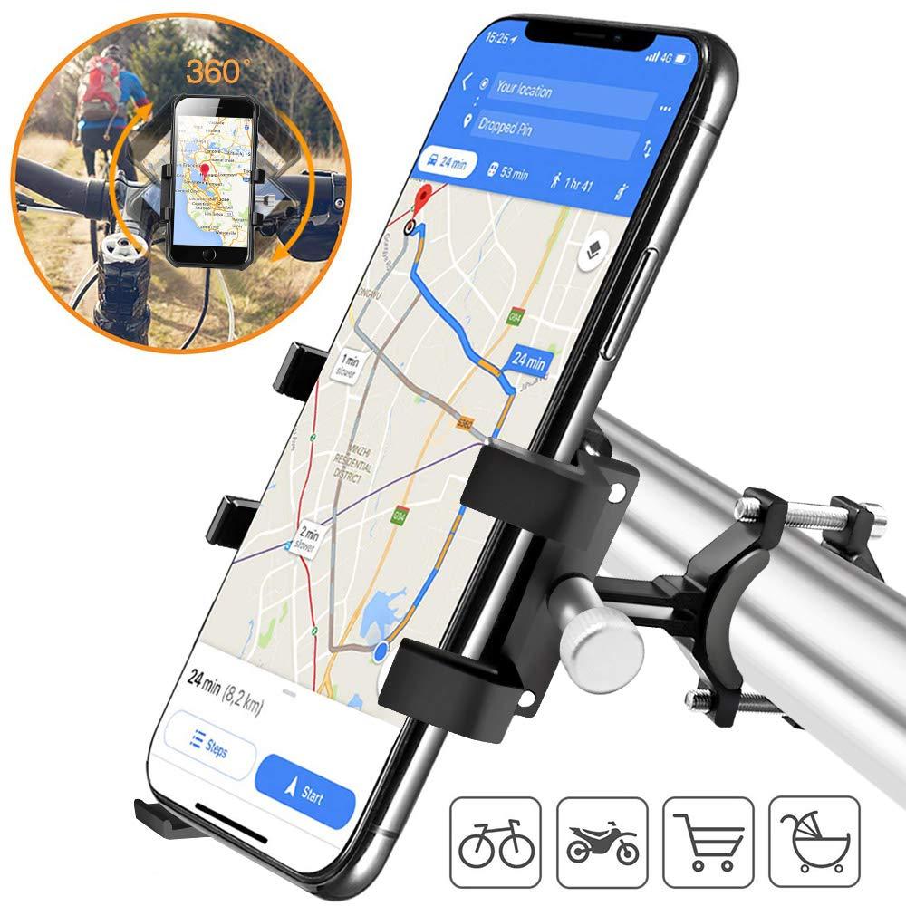 YAOMAISI Bike Phone Holder,Metal Phone Mount for Bicycle/Mountain Bike/Motorbike