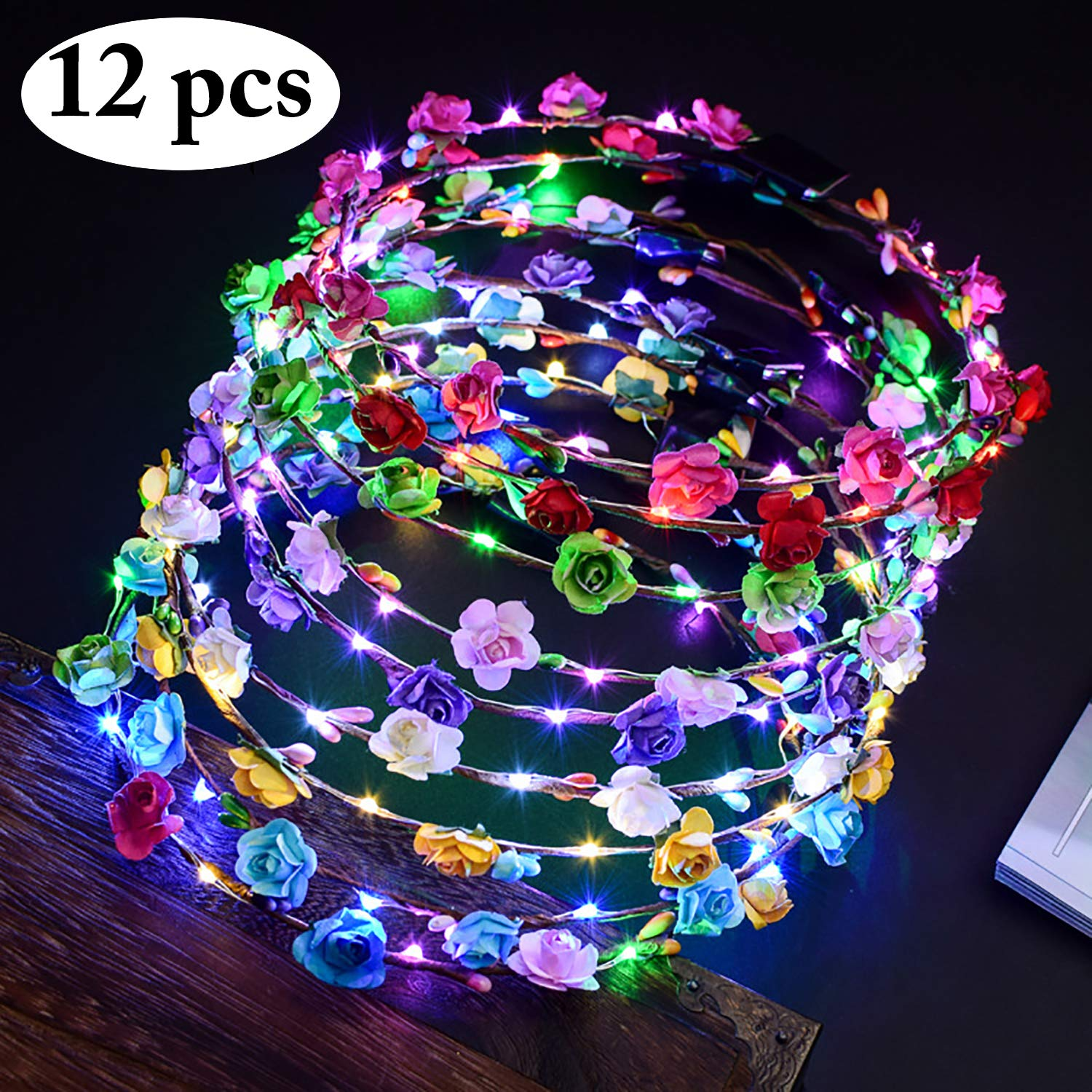 Outgeek LED Flower Headband, 12Pcs Flower Luminous Crown