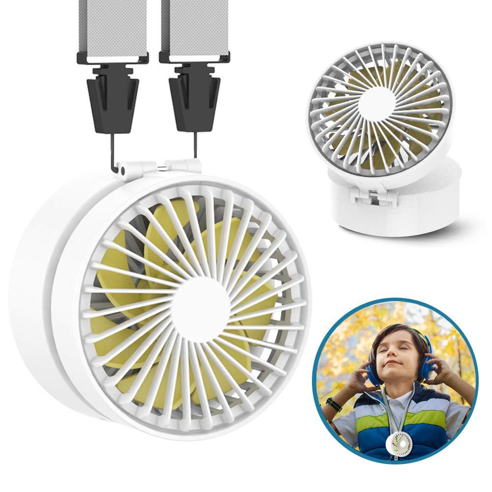 EasyAcc Mini Necklace Fan Hand Free Upgraded Fold-able Rechargeable 2600 mAh USB Fan